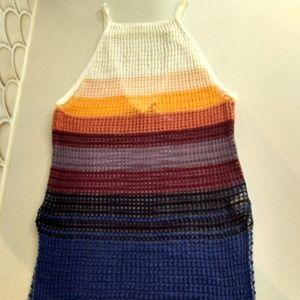 Free People Loose Rainbow Crocheted Tank